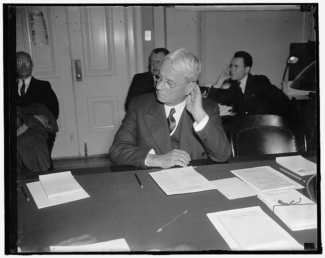 California's veteran republican senator. Washington, D.C., Jan. 19. Senator Hiram W. Johnson, veteran republican legislator from California, pictured in a series of poses while he listened to testimony before the Senate Commerce Committee now investigating the country's maritime industry. Senator Johnson is a member of the committee, 1/19/38