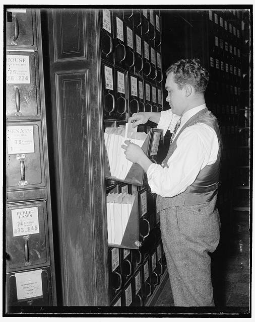 How a bill become a law. At the same time that the bill is sent to the committee , it is also filed in the document room, so that interested parties may obtain a copies for inspection. John H. Smith of the House Document room is shown here filing a bill