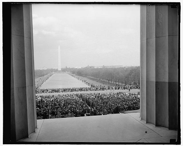 Masses listen while negress sings. Washington, D.C., April 9. An estimated 75,000 people of all races massed before the Lincoln Memorial today while negro contralto Marian Anderson staged on of the most dramatic concerts seen in Washington. The concert was the culmination of the bitterest black-vs.-white contests since the World War. Mrs. Franklin D. Roosevelt resigned the DAR because of their refusal to allow her to sing in their Constitution Hall here, 4-9-39