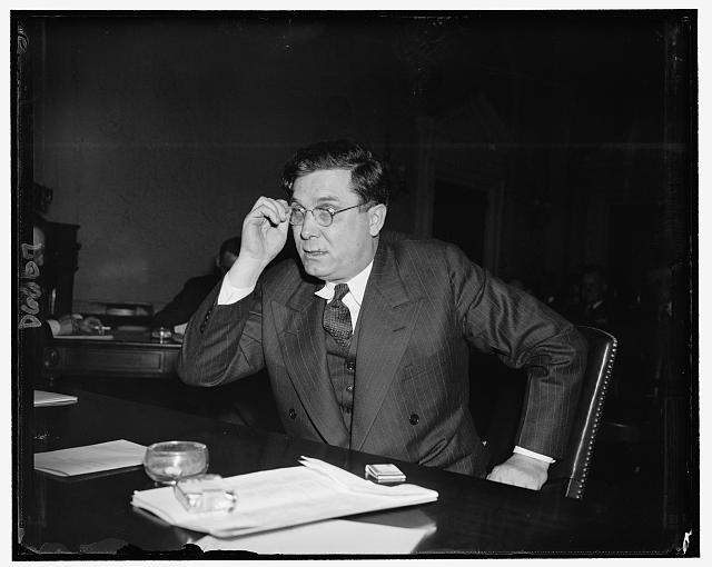 Wendell Wilkie, Pres. of the Commonwealth & Southern Corp. appearing before House Military Affairs Subcommittee, urging approval of Norris Bill so that the securities of the Tennessee Electric & Power Co. 'will not be totally destroyed'