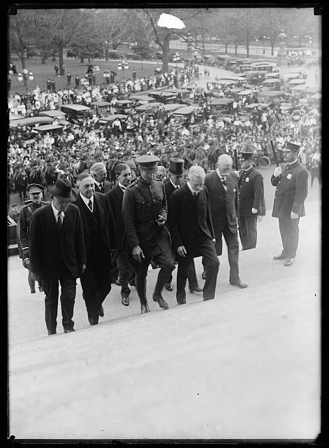 [Group ascending steps of U.S. Capitol; includes Oscar Underwood, 3rd from left. Washington, D.C.]
