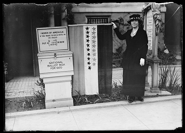 Women of America! If you want to put a vote in in 1920 put a (.10, 1.00, 10.00) in now. National Ballot Box for 1920