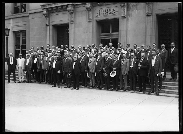 [Group in front of Interior Department building, Washington, D.C.]