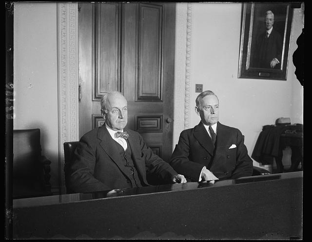 Acting Secretaries. Joseph P. Cotton, left, Undersecretary of State and [Ernest?], Assistant Secretary of the Navy who are now the heads of their respective departments during the absence of Secretary Stimson and Secretary Adams who are attending the London Naval Arms parley