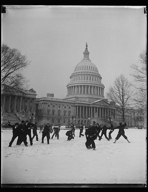 [Snowball fight in front of U.S. Capitol, Washington, D.C.]