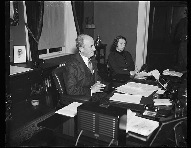 Photograph of Henry Morgenthau Jr. and Henrietta Stein Klotz, 12/3/1935 in his office. Picture is from the Library of Congress, Harris and Ewing collection. Digital id: hec 39676 //hdl.loc.gov/loc.pnp/hec.39676