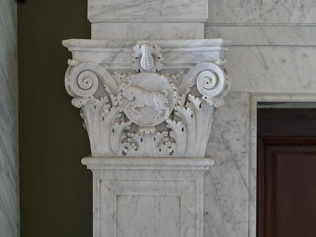[Second Floor Corridor. Printers' marks+Columns. Detail of column capital showing Aries. Library of Congress Thomas Jefferson Building, Washington, D.C.]