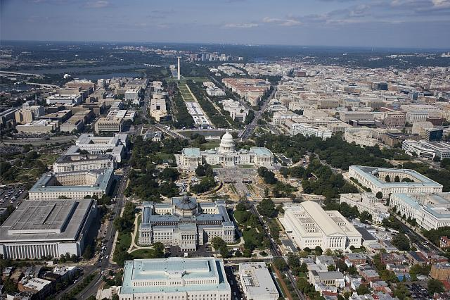 [Aerial view of Washington, D.C., looking west, with Library of Congress Thomas Jefferson Building in center foreground and James Madison Building at left]