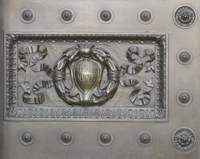 [Exterior view. Detail of bronze main entrance doors labelled Humanitas. Library of Congress Thomas Jefferson Building, Washington, D.C.]