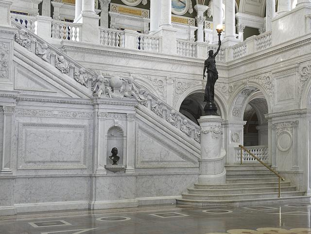 [Great Hall. View of grand staircase and bronze statue of female figure on newel post holding a torch of electric light. Library of Congress Thomas Jefferson Building, Washington, D.C.]