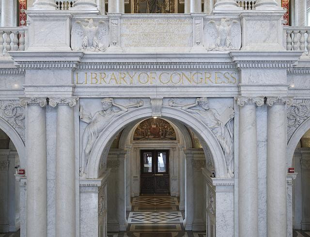 [Great Hall. Spandrels displaying Olin L. Warner's The Students in the Commemorative Arch. Library of Congress Thomas Jefferson Building, Washington, D.C.]