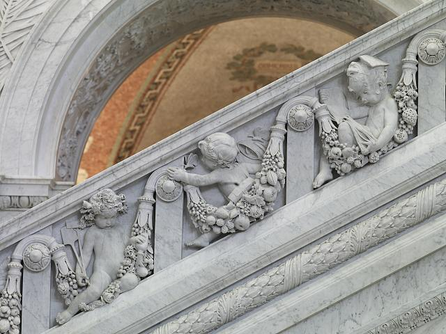[Great Hall. Detail of putti (gardner, entomologist, and student) on Grand staircase, Philip Martiny. Library of Congress Thomas Jefferson Building, Washington, D.C.]