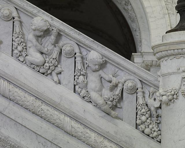 [Great Hall. Detail of putti (hunter and mechanic) on staircase, Philip Martiny. Library of Congress Thomas Jefferson Building, Washington, D.C.]