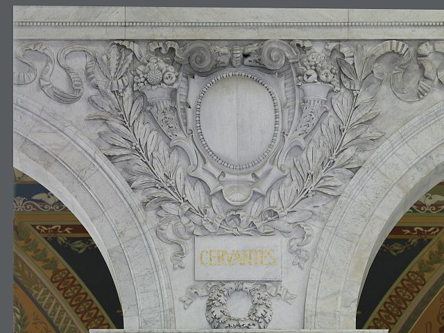 [Great Hall. Cartouche of Cervantes. Library of Congress Thomas Jefferson Building, Washington, D.C.]