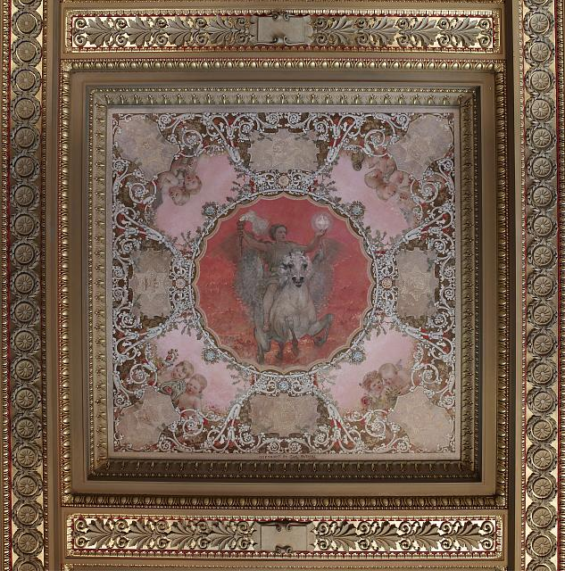 [House Members Room. Light of Poetry (red) panel in the Spectrum of Light ceiling mural by Carl Gutherz that represents civilization. Library of Congress Thomas Jefferson Building, Washington, D.C.]
