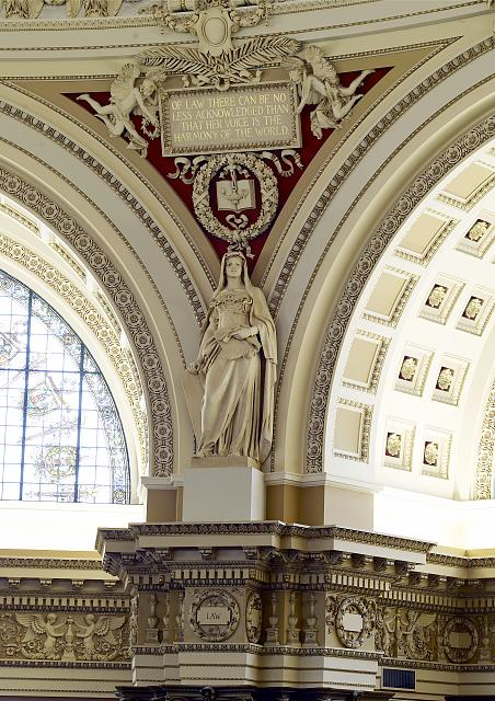 [Main Reading Room. View of statue of Law by Paul W. Bartlett on the column entablature between two alcoves. Library of Congress Thomas Jefferson Building, Washington, D.C.]