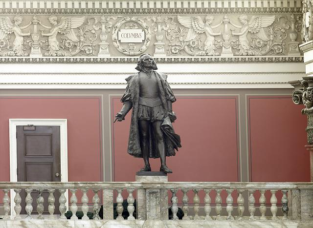 [Main Reading Room. Portrait statue of Columbus along the balustrade. Library of Congress Thomas Jefferson Building, Washington, D.C.]