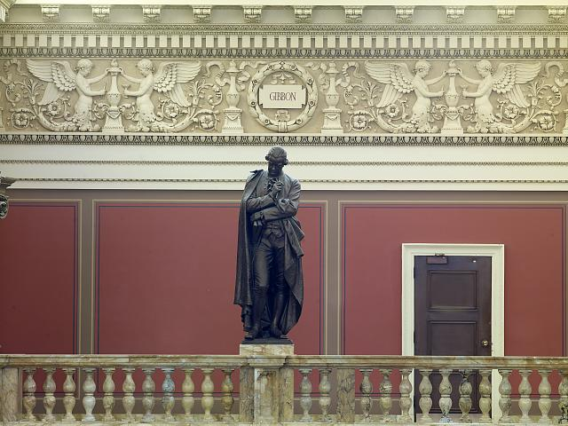 [Main Reading Room. Portrait statue of Gibbon along the balustrade. Library of Congress Thomas Jefferson Building, Washington, D.C.]