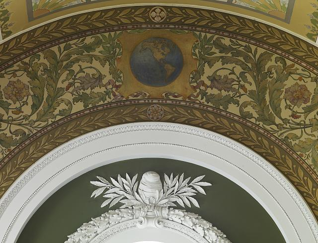 [Second Floor Corridor. Printers' marks+Columns. Arch above window showing mural and sculpted freedom cap. Library of Congress Thomas Jefferson Building, Washington, D.C.]