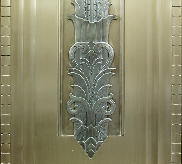 [Interior detail from double doors at ends of corridor in front of entrance to center reading room. Library of Congress John Adams Building, Washington, D.C.]
