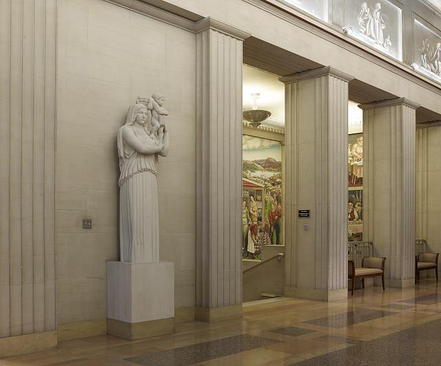 "Sculpture ""Fire"" located in fifth floor elevator lobby, Department of Justice, Washington, D.C."