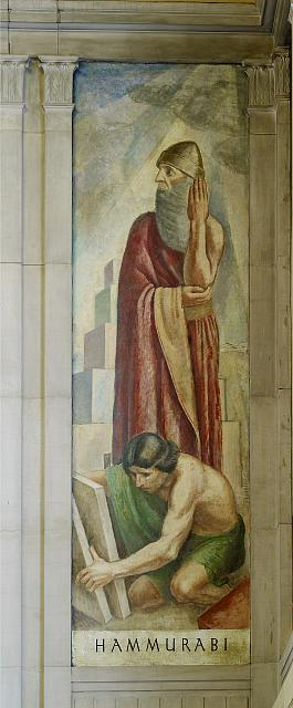 "Oil painting ""Hammurabi,"" stairway of Great Hall, Department of Justice, Washington, D.C."