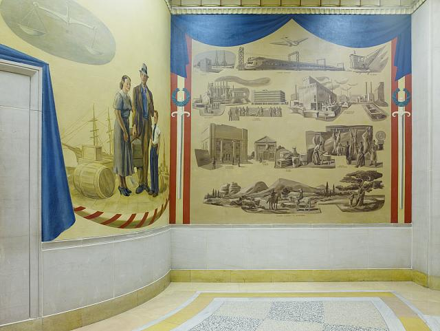 "Two paintings ""Immigration Scene"" and ""Peaceful activities of the Department of Justice,"" fifth floor, elevator no. 10, Department of Justice, Washington, D.C."