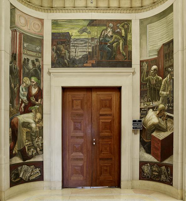Fresco paintings above entrance to room 5114, Department of Justice, Washington, D.C.