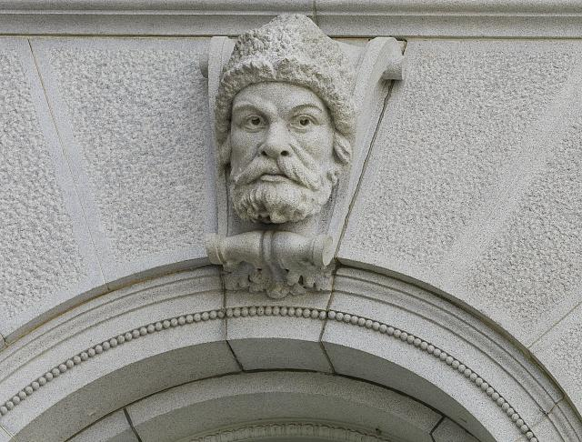 "[Exterior view. Ethnological head called ""Russian Slav"" on a keystone of a first story pavilion window. Library of Congress Thomas Jefferson Building, Washington, D.C.]"