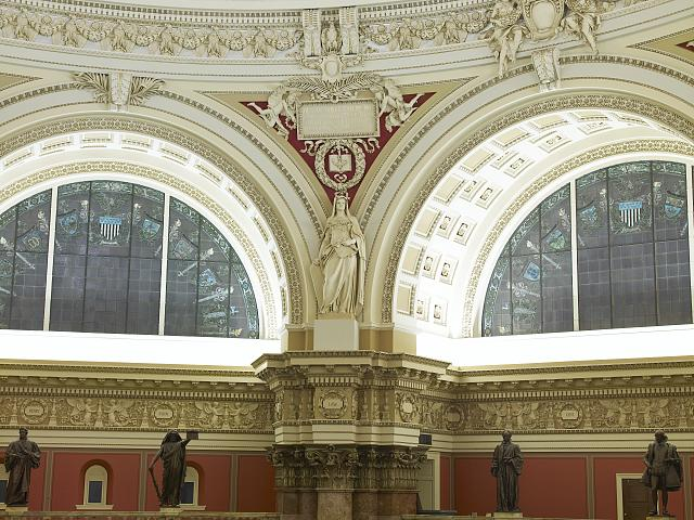 [Main Reading Room. View of statue representing Law by Paul Wayland Bartlett on the column entablature between two alcoves. Library of Congress Thomas Jefferson Building, Washington, D.C.]