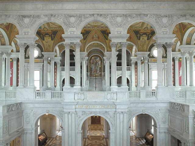 [Great Hall, view of second floor with Minerva in distance. Library of Congress Thomas Jefferson Building, Washington, D.C.]