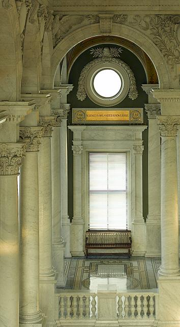 "[Great Hall, second floor, east corridor. Large window with quotation above: ""Science is organized knowledge."" Library of Congress Thomas Jefferson Building, Washington, D.C.]"
