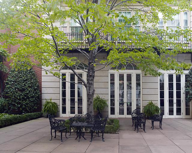 Outdoor seating in the Arthur and Janet Ross garden, Blair House, located across from the White House, Washington, D.C.