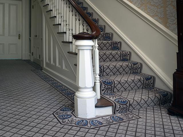 Stair detail in Jackson Place, Blair House, located across from the White House, Washington, D.C.