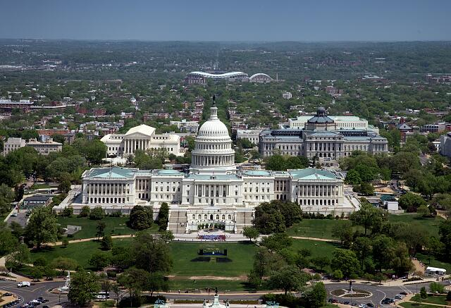Aerial view, United States Capitol building, Washington, D.C.
