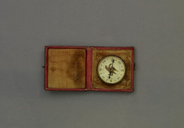 The compass used by John Wilkes Booth when he tried to escape Washington, D.C. after shooting President Abraham Lincoln. Artifact in the museum collection, National Park Service, Ford's Theatre National Historic Site, Washington, D.C.