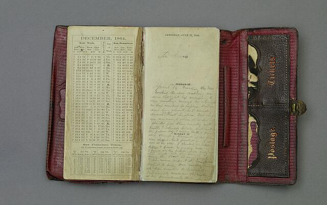John Wilkes Booth diary, artifact in the museum collection, National Park Service, Ford's Theatre National Historic Site, Washington, D.C.