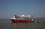 Ferries, boats and oil rigs all co-exist on Mobile Bay in Alabama