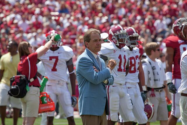 A-Day Game football scrimmage for University of Alabama, with coach Nick Saban analyzing every move. Tuscaloosa, Alabama