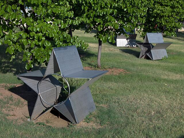 """Star Field"" stainless steel benches at the Federal Building, Oklahoma City, Oklahoma"