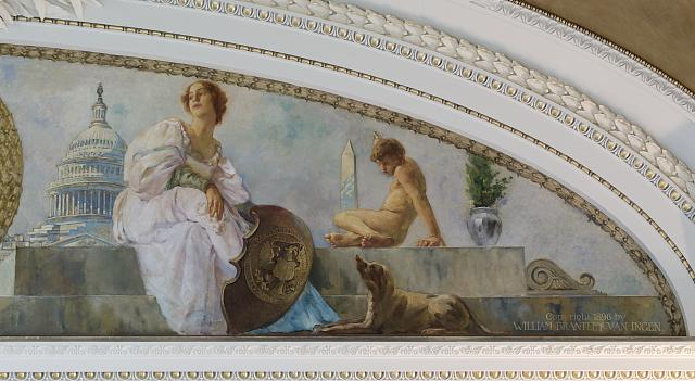 [Northeast Pavilion, The Pavilion of the Seals. Right detail of Mural in Lunette devoted to the Treasury Department and Department of State by William Brantley Van Ingen. Library of Congress Thomas Jefferson Building, Washington, D.C.]