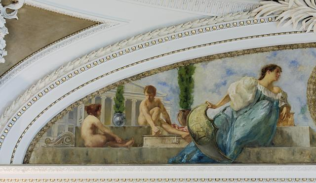 [Northeast Pavilion, The Pavilion of the Seals. Left detail of Mural in Lunette devoted to the Treasury Department and Department of State by William Brantley Van Ingen. Library of Congress Thomas Jefferson Building, Washington, D.C.]