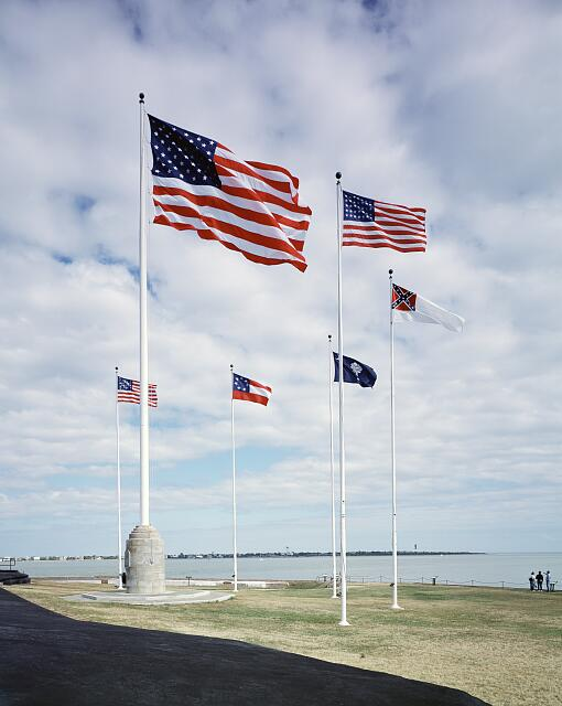 Flags at Fort Sumter in South Carolina