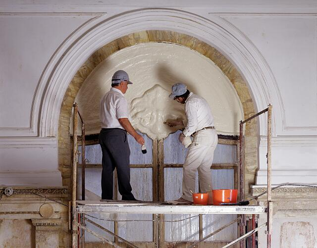 Workers restore the lobby of the historic Willard Hotel, Washington, D.C., in the 1980s