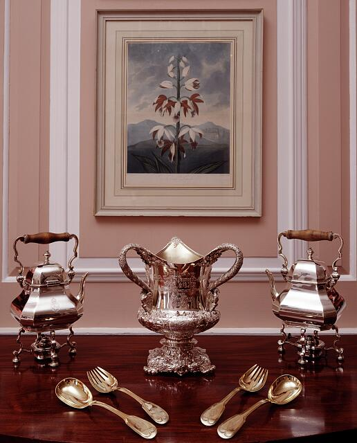 Sterling silver displayed in the dining room of the Chancery and residence of the Ambassador of the United Kingdom, Washington, D.C.