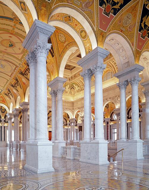 Great Hall, second floor, north. Library of Congress Thomas Jefferson Building, Washington, D.C.