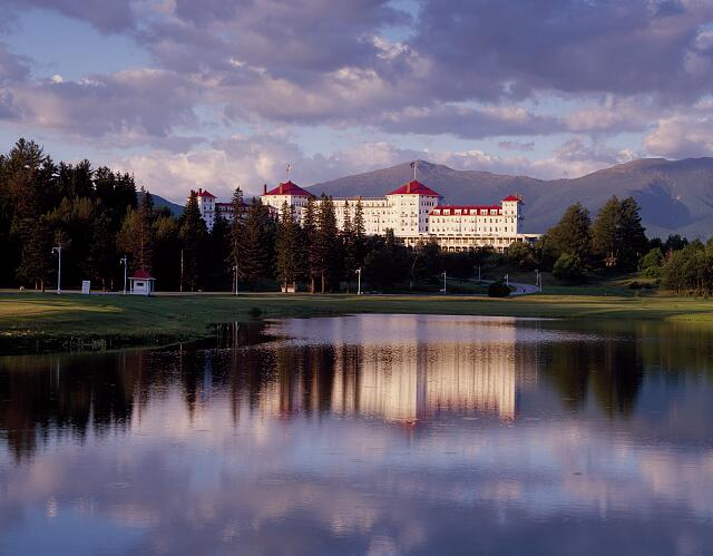 The Mount Washington Hotel resort, and its reflection, located in Bretton Woods in New Hampshire's White Mountains
