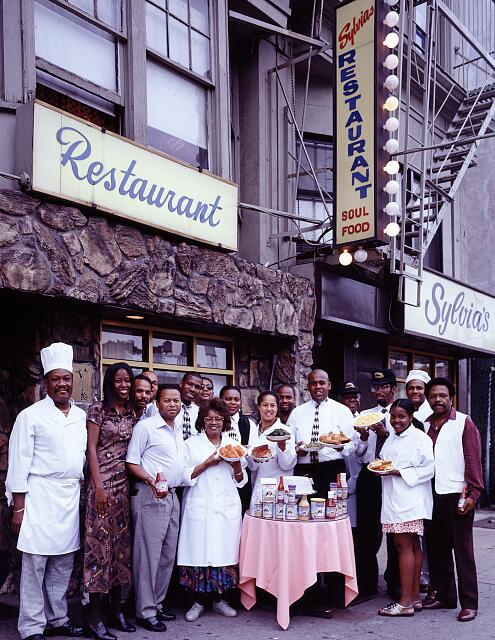 Staff of Sylvia's, a legendary soul-food restaurant in Harlem, New York