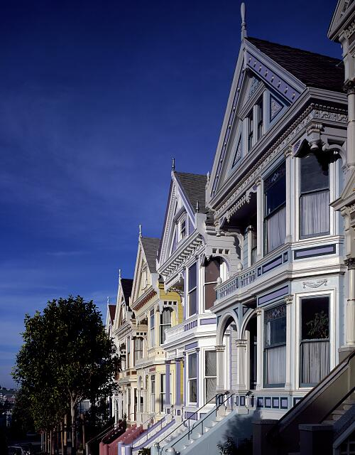"Row mansions, loaded with ""gingerbread,"" San Francisco, California"