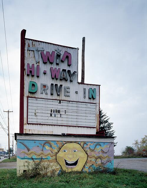 Entrance sign for the Twin Hi-Way drive-in theater, McKees Rocks, Pennsylvania